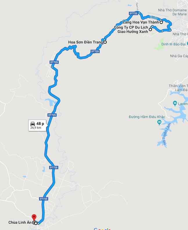bản đồ các điểm du lịch Đà lạt hướng tà nung