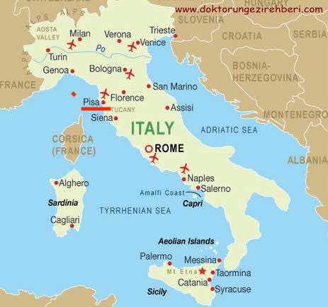 bản đồ du lịch Pisa Ý