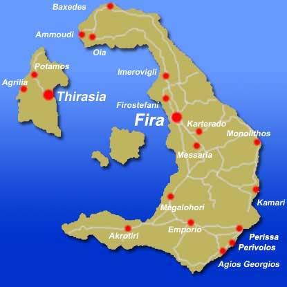 Bản đồ du lịch Santorini Hy lạp