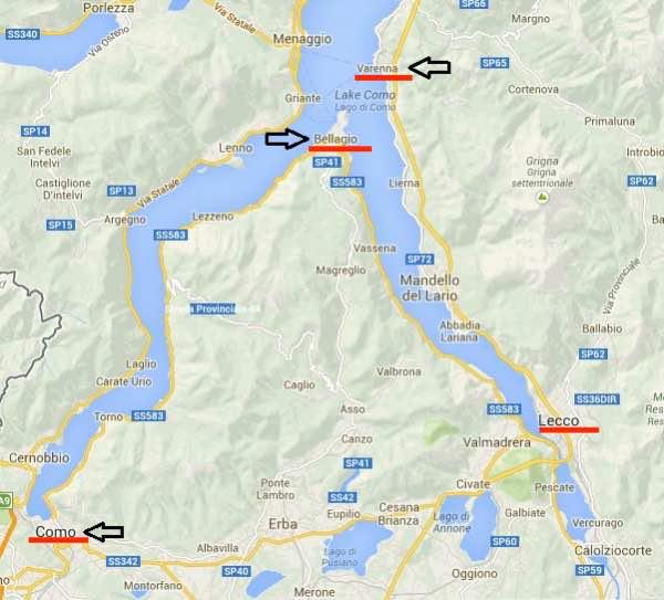 Bản đồ du lịch hồ Como Ý
