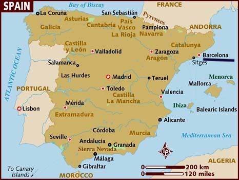 Bản đồ Tây Ban Nha