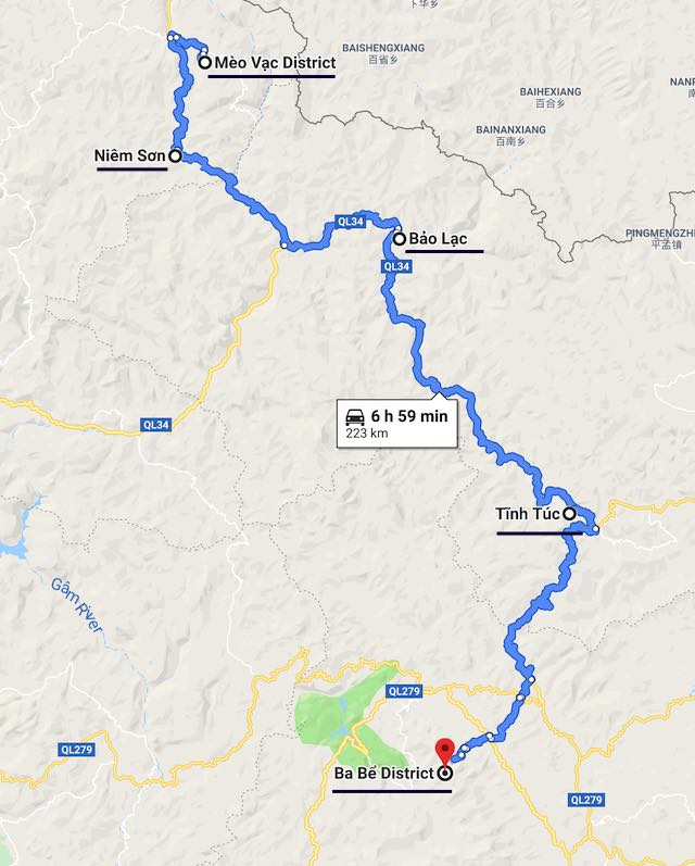 From Ha giang to Ba Be map