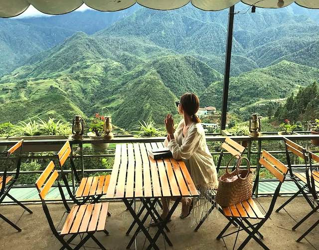 View from Fansipan terrace cafe. sapa