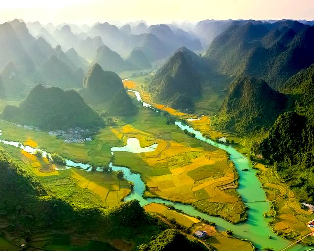 beautiful landscape near Ban gioc waterfall cao bang vietnam