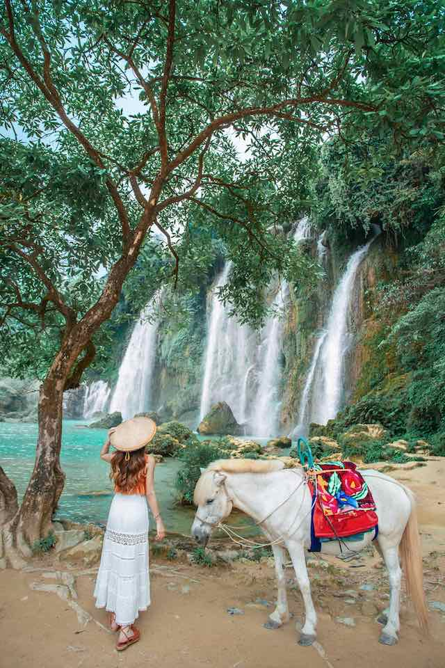 A Vietnamese take a photo with horse in Ban gioc falls