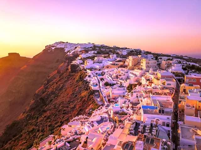 Hoàng hôn du lịch Santorini